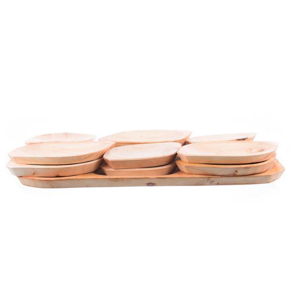 Set 13 platouri din lemn pentru servit model 4