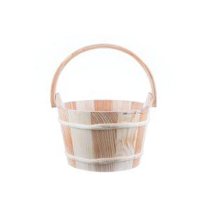 Ornament pentru gradină găleată din lemn natur cu mâner de lemn