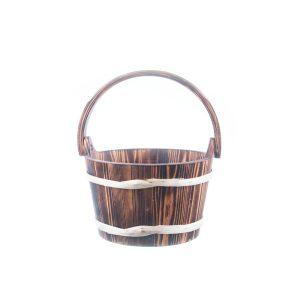 Ornament pentru gradină găleată din lemn maro cu mâner de lemn