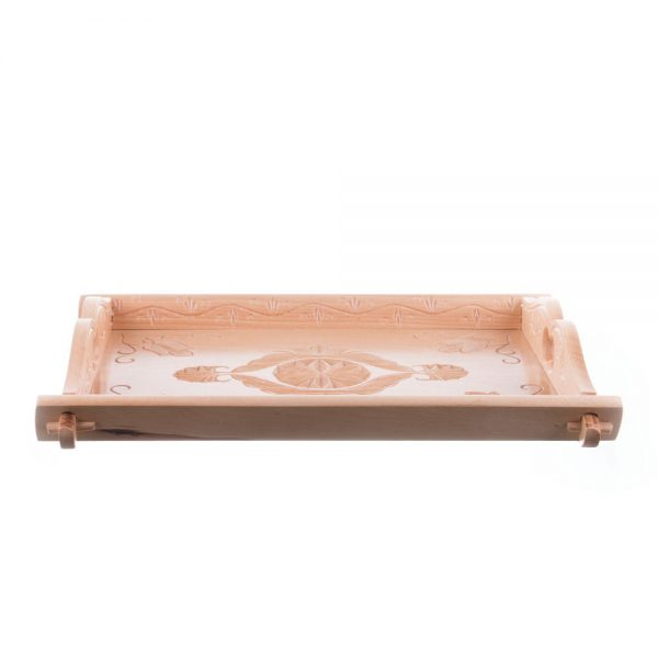 Tavă pentru servit din lemn sculptat natur lăcuit
