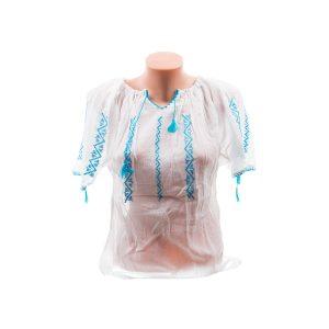 Ie din Borangic lucrată manual cu model albastru și mânecă scurtă