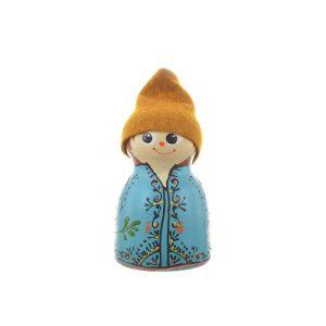 Păpușă tradițională mică din ceramică model băiat 10 cm