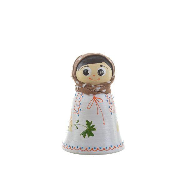 Păpușă tradițională mică din ceramică model fetiță 10 cm