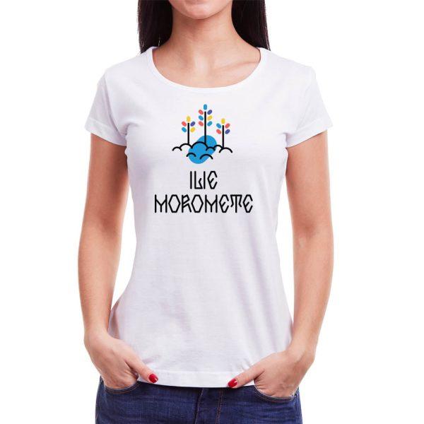 Tricou femei Ilie Moromete Învie Tradiția alb/negru