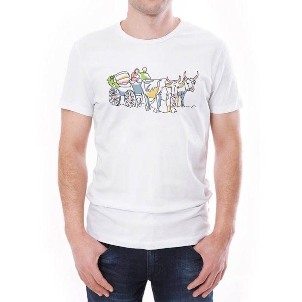 Tricou bărbați car cu boi Învie Tradiția alb/negru
