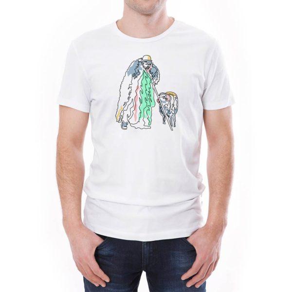 Tricou bărbați cioban Învie Tradiția alb/negru