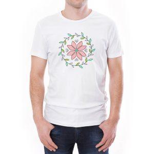 Tricou bărbați floare Învie Tradiția alb/negru