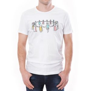 Tricou bărbați hora Învie Tradiția alb/negru