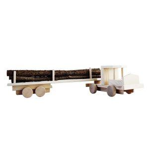 Camion de jucarie din lemn cu busteni
