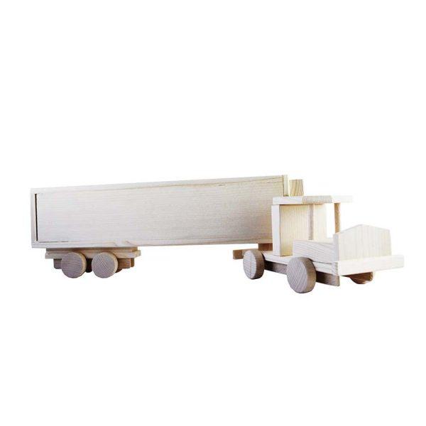 Camion de jucarie din lemn cu remorca TIR