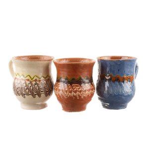 Set 3 căni din ceramică de Horezu 150 ml