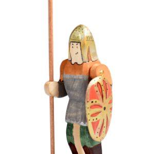 Jucarie Set Cavalerul Dacic cu Scut, Sulița si Dracon, BumbuToys, din lemn