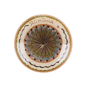 Farfurie Ceramică Horezu Model Inscripționat România 19 - 20 cm - Diverse modele