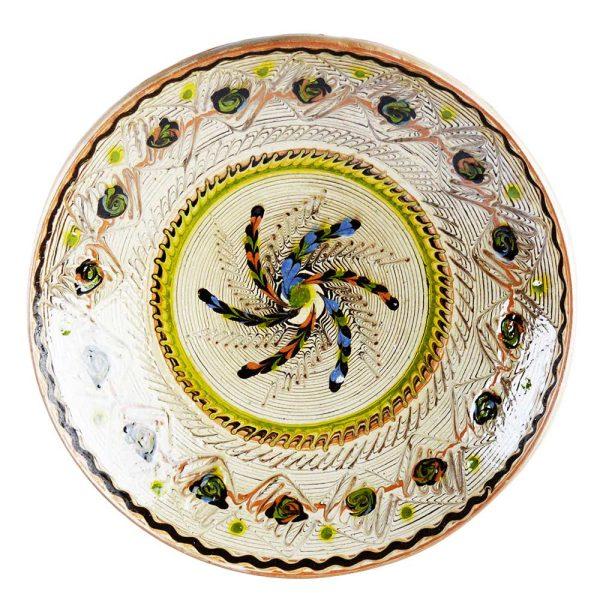 Farfurie Ceramica Horezu Model Spirala Verde Albastru 33-37 cm - Diverse modele