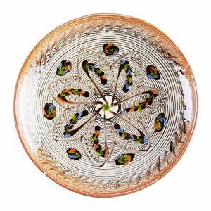 Farfurie Ceramica Horezu Model Floare Mare 26 cm - Diverse modele