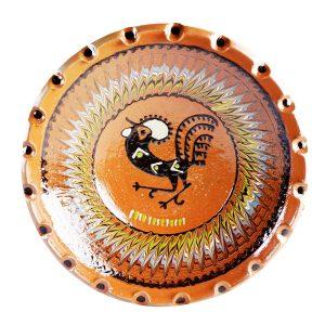 Farfurie Ceramica Horezu Maro Model Cocos incadrat Spirala 33-37 cm