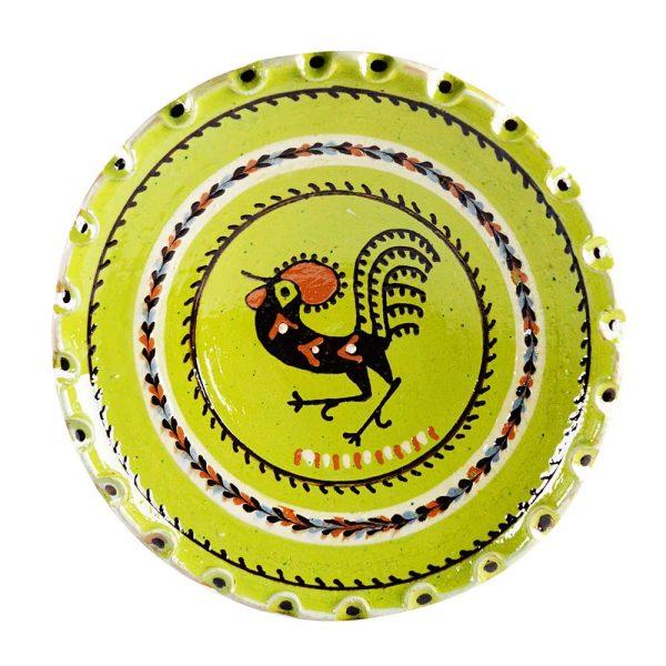 Farfurie Ceramica Horezu Verde Model Cocos cu Margine Zimtata 33-37 cm