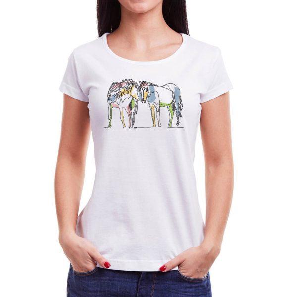 Tricou femei căluți Învie Tradiția alb/negru