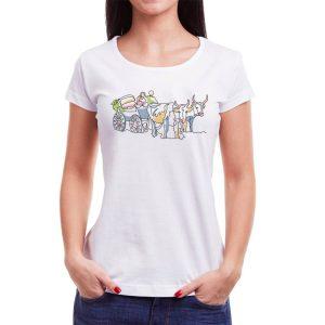 Tricou femei car cu boi Învie Tradiția alb/negru
