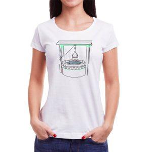 Tricou femei fântâna Învie Tradiția alb/negru