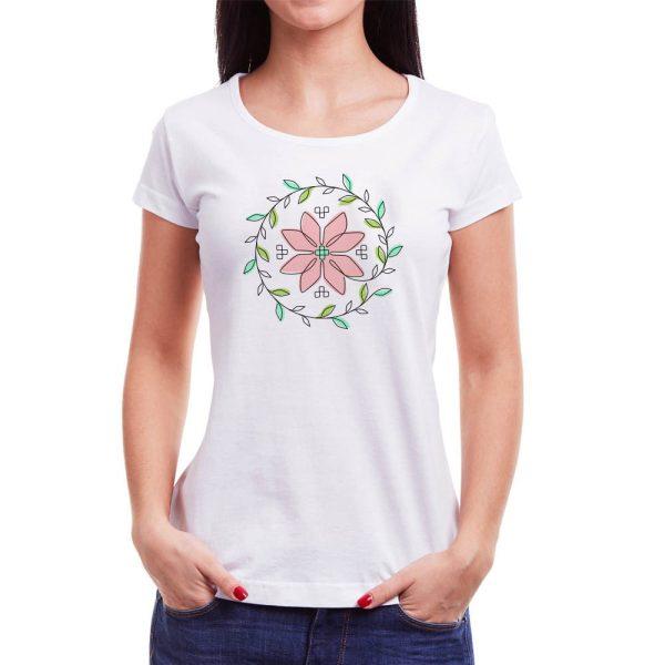 Tricou femei floare Învie Tradiția alb/negru