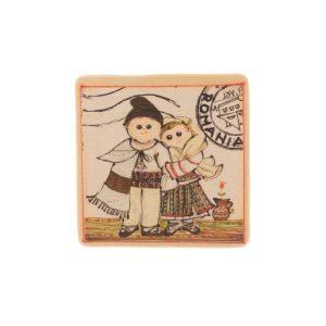Magnet mare România pictat pe pânză - litografie pe panza si lemn sau ceramică 12 x 12 cm