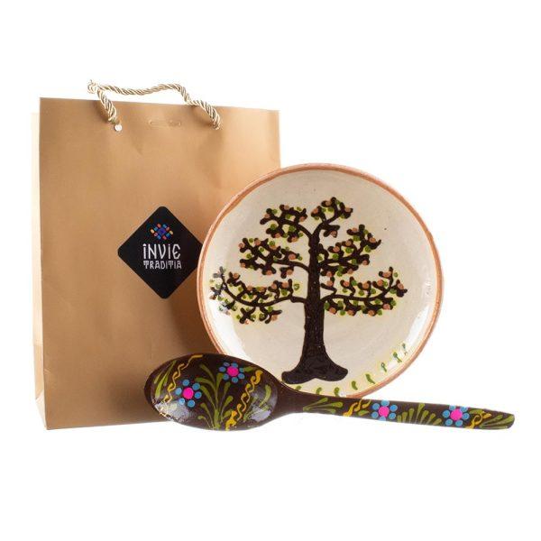 Pachet cadou ceramică de Horezu și lingură pictată model Transilvănean
