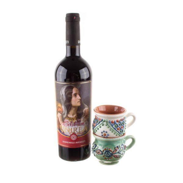 Pachet cadou căni mici de vin ceramică Bledea și vin fetească neagră ediție limitată România