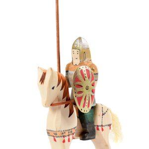 Jucărie Set Cavalerul dacic si calul de lupta, din lemn