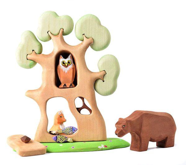 Jucarie set ursul pacalit de vulpe BumbuToys, din lemn