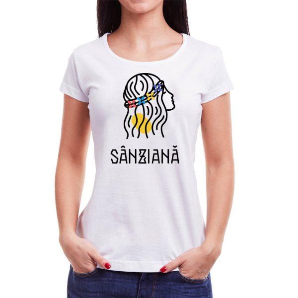 Tricou femei Sânziană Învie Tradiția alb/negru