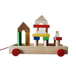 Set de construcție figurine din lemn și remorca