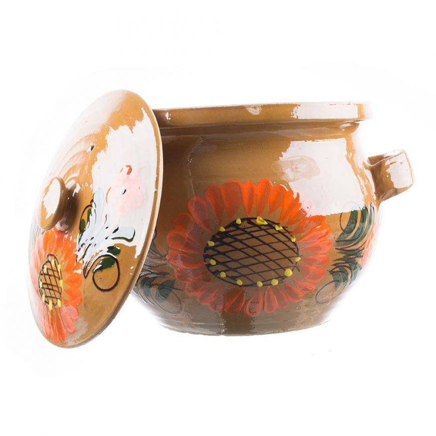 oala ceramica pictata manual floarea soarelui